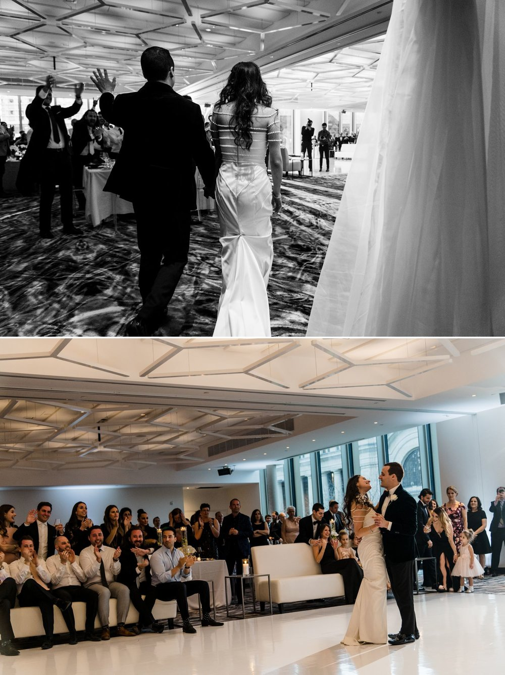 The bride and groom during the entrance and first dance at their wedding reception at the NAC in downtown Ottawa