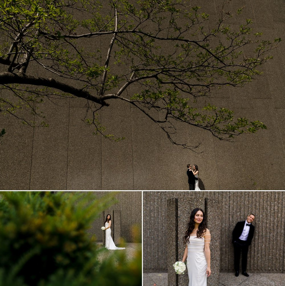 Portraits of the bride and groom outside the NAC in downtown Ottawa