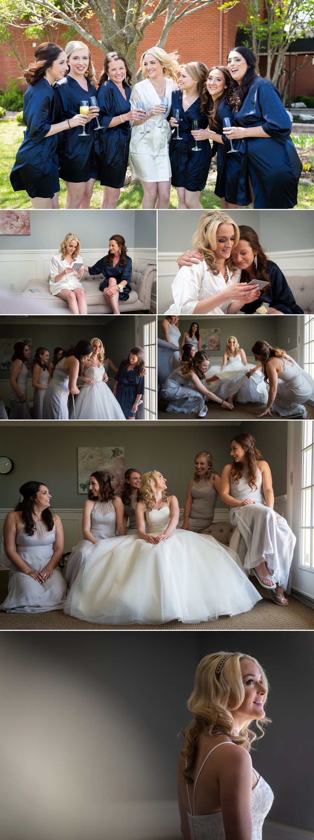 The bride with her bridesmaid and family getting ready at the Orchard View Guesthouse