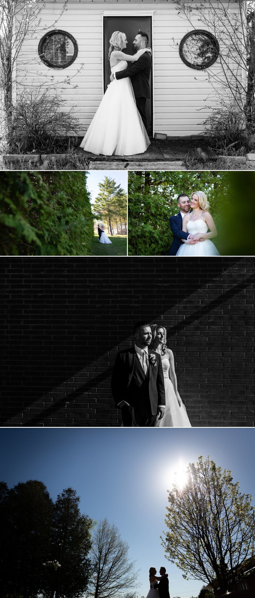 Portraits of the bride and groom after their wedding ceremony at Orchard View Wedding and Conference Centre