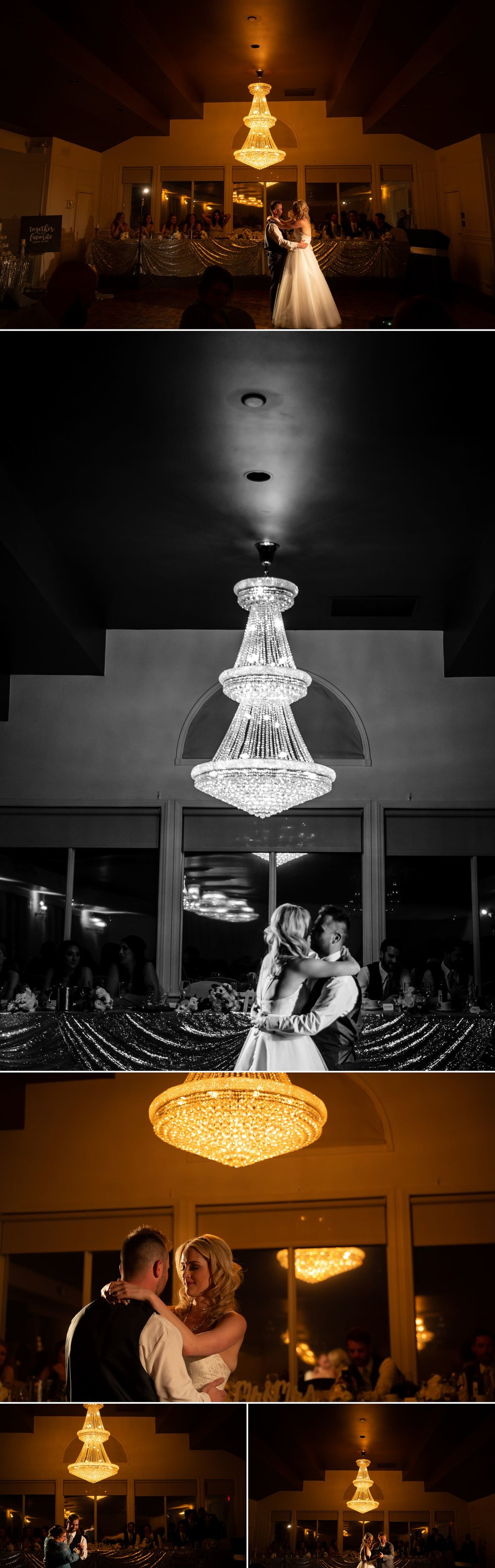 The bride and groom during their first dances during their wedding reception at Orchard View Wedding and Conference Centre