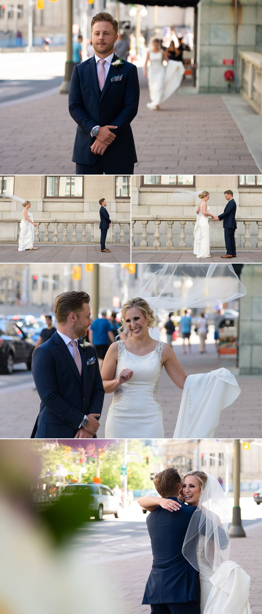 The bride and groom during their first look in front of The Chateau Laurier in downtown Ottawa