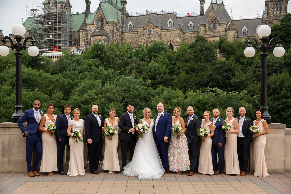 beautiful wedding party photo in downtown ottawa