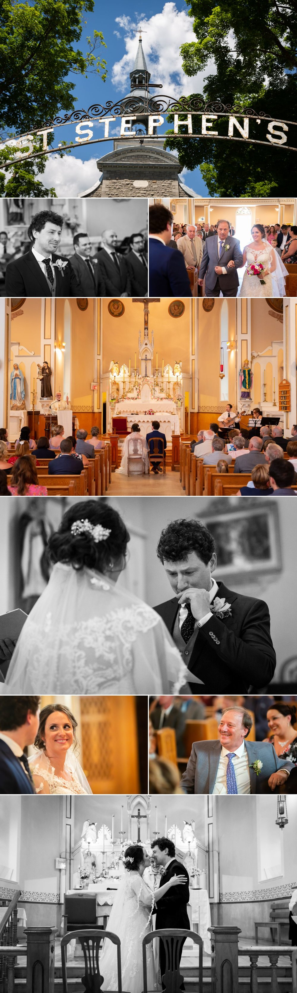 A wedding ceremony taking place at Saint Stephen's Parish in Chelsea, Quebec