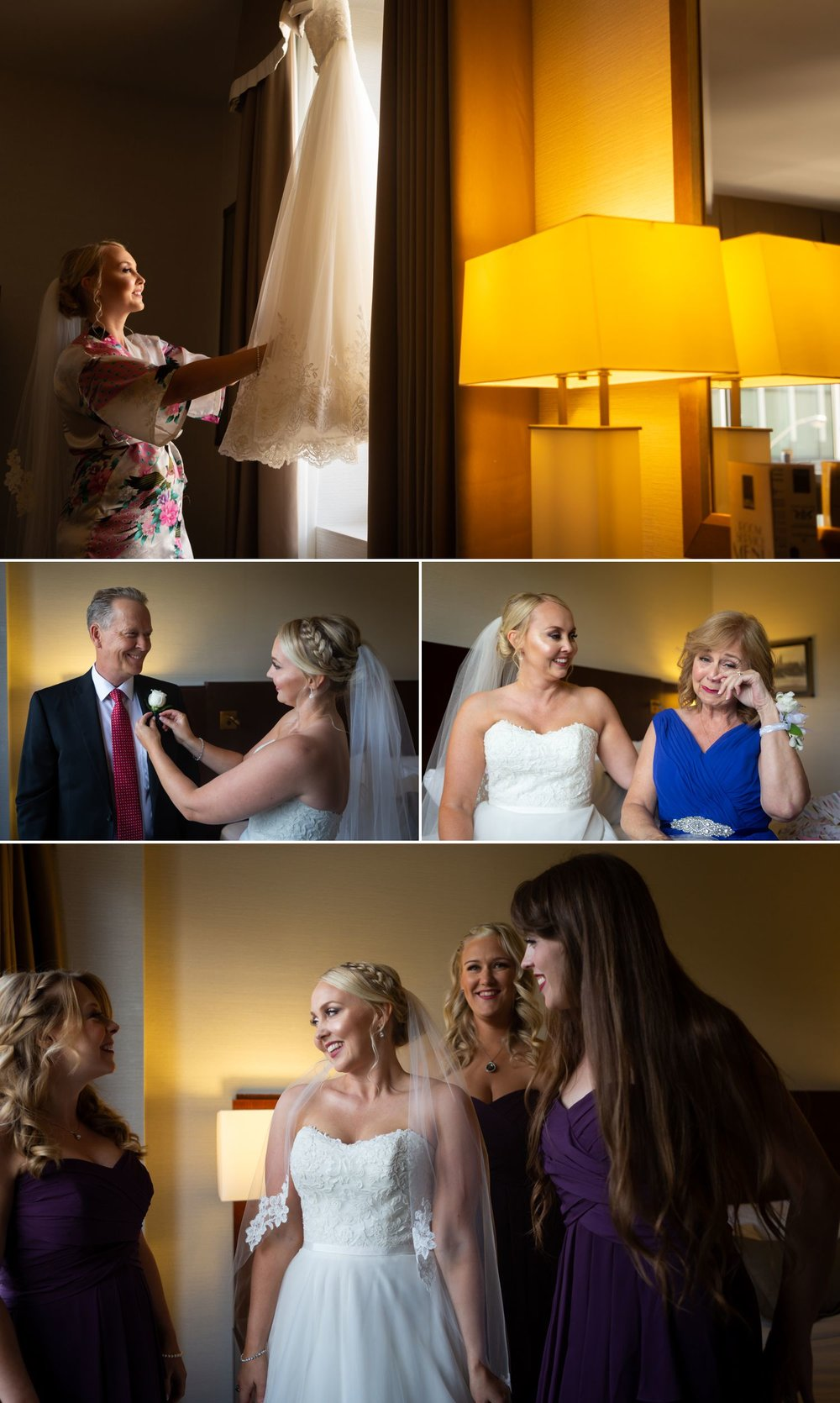 The bride getting ready with her friends and family at a hotel in downtown Ottawa