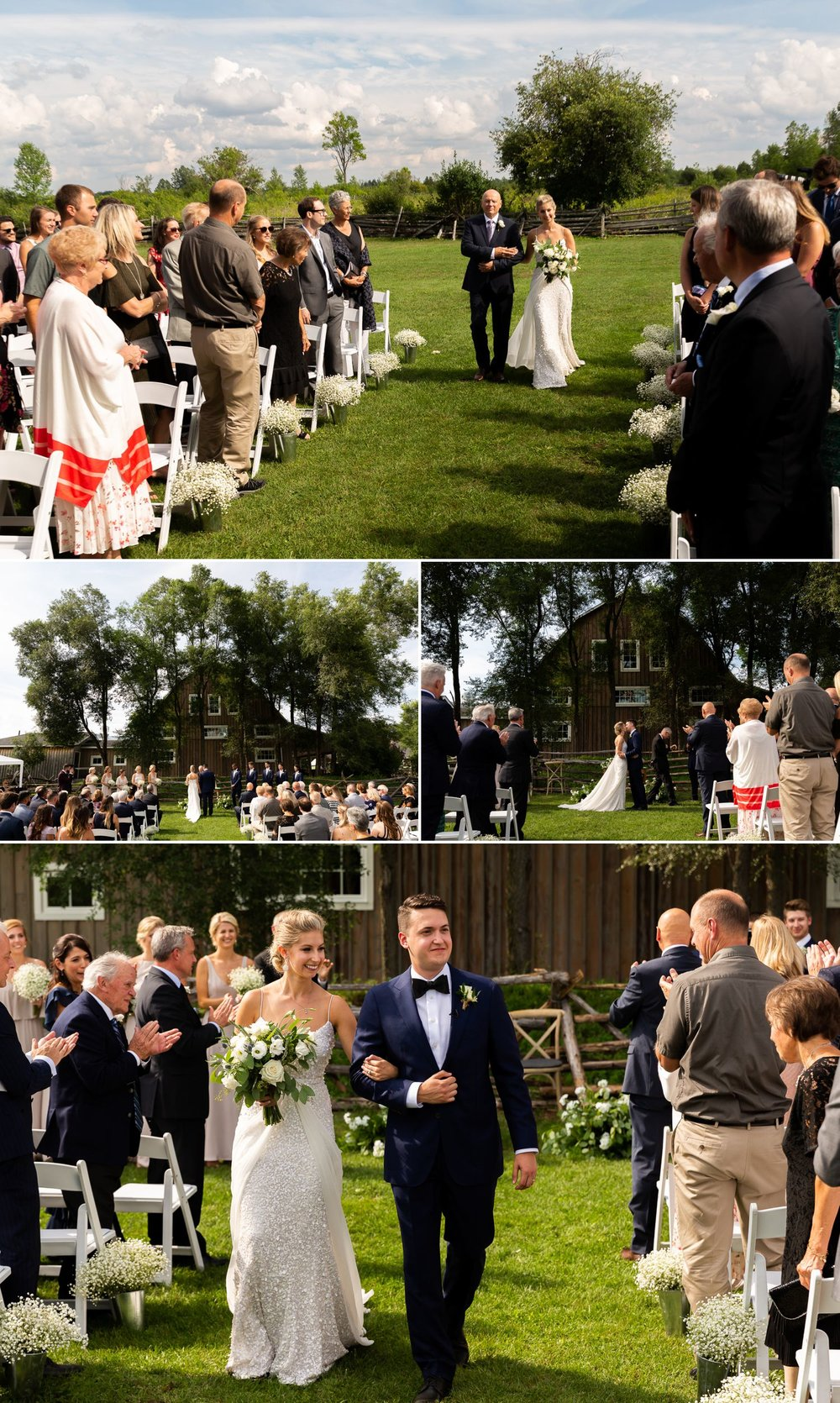 An outdoor summer wedding ceremony taking place at Stonefields Estate