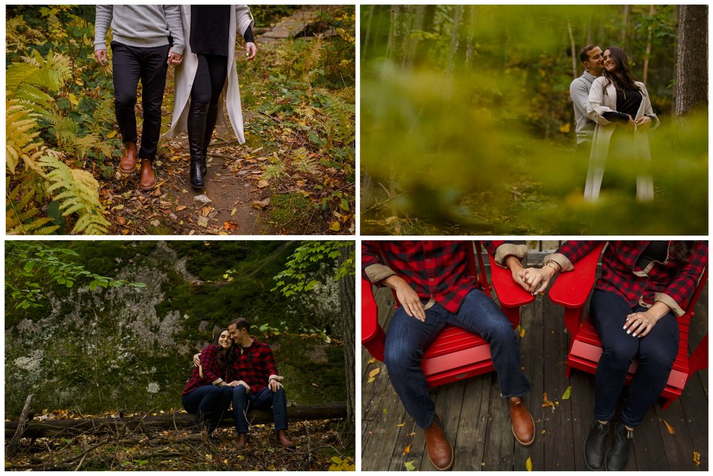 engagement photos in the forest