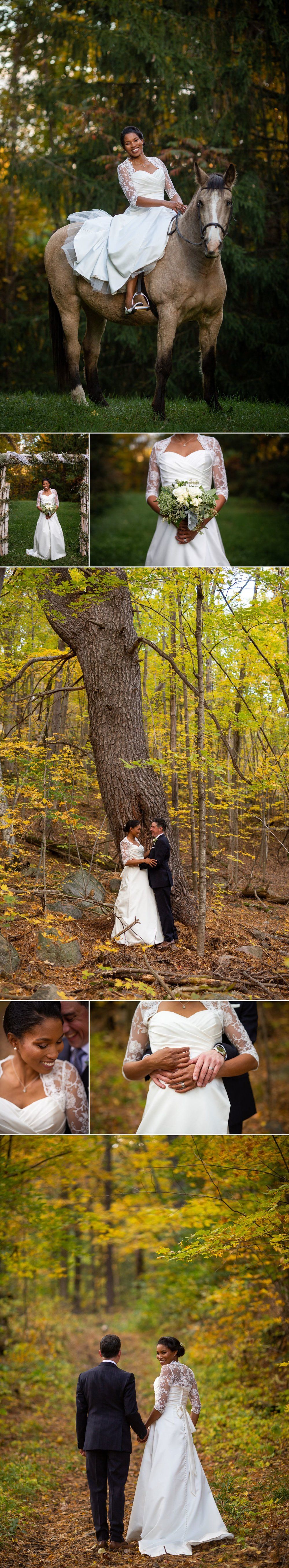 Portraits of the bride and groom taken after their outdoor fall wedding ceremony at their family farm