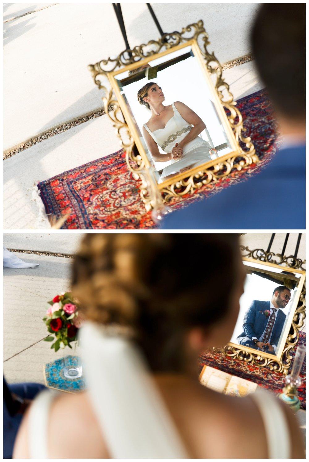 photos of a persian couple's reflection in a mirror