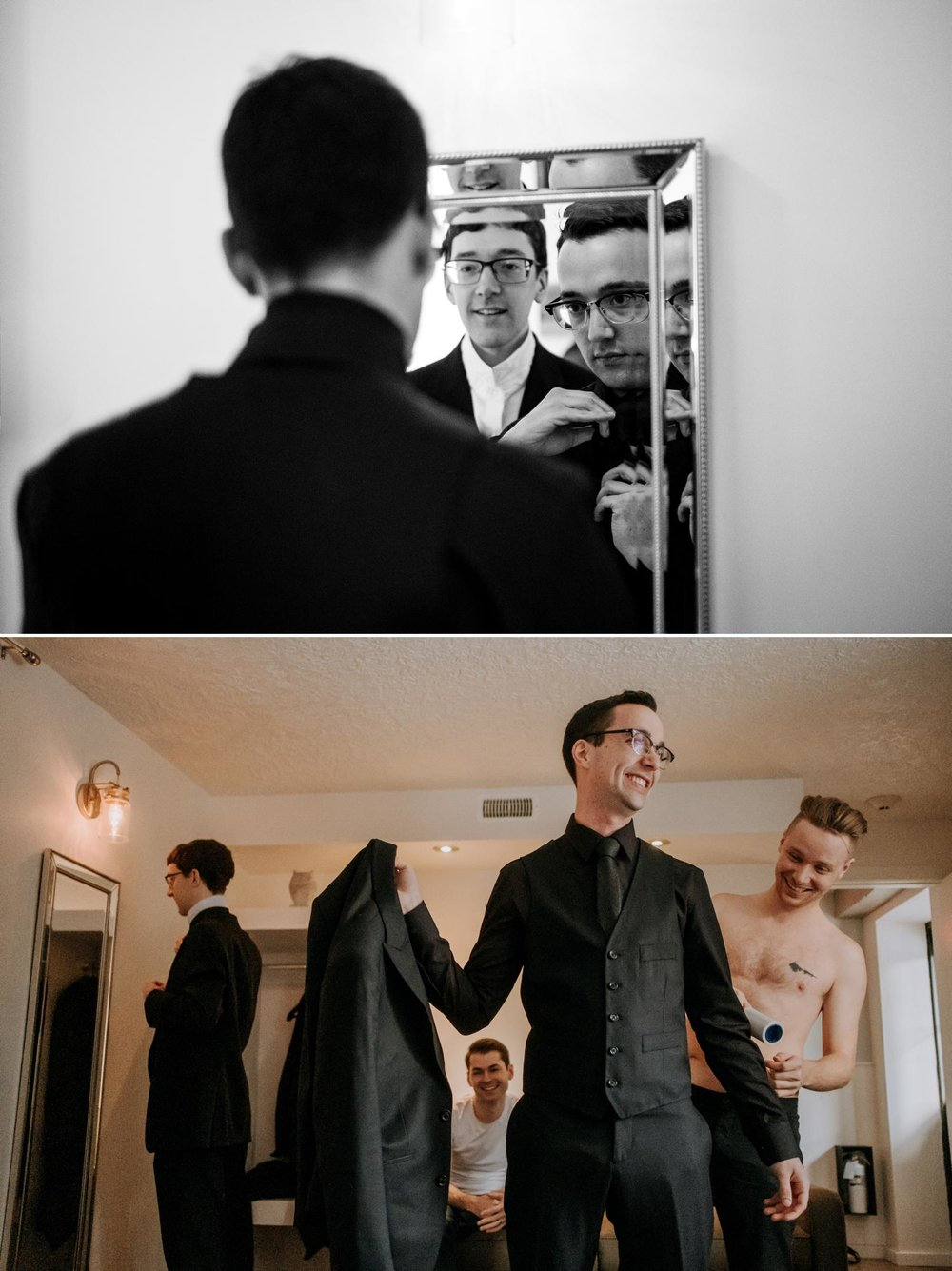 photos of a groom getting ready for his wedding ceremony