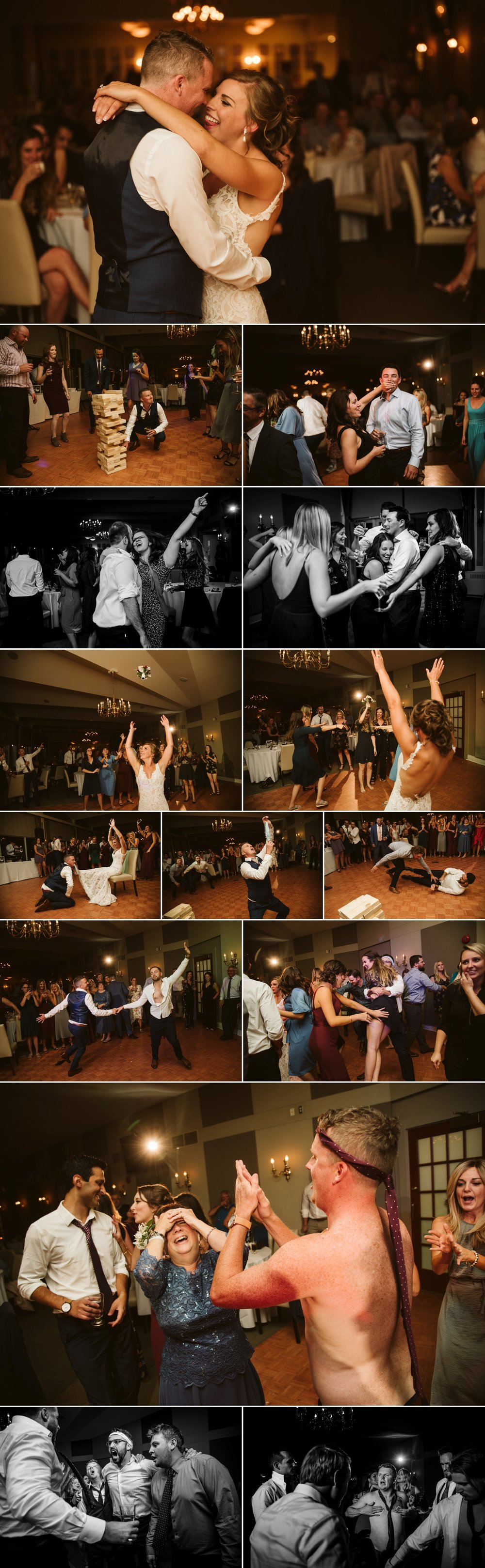 candid moments on the dance floor during a hunt and golf club wedding reception in ottawa ontario