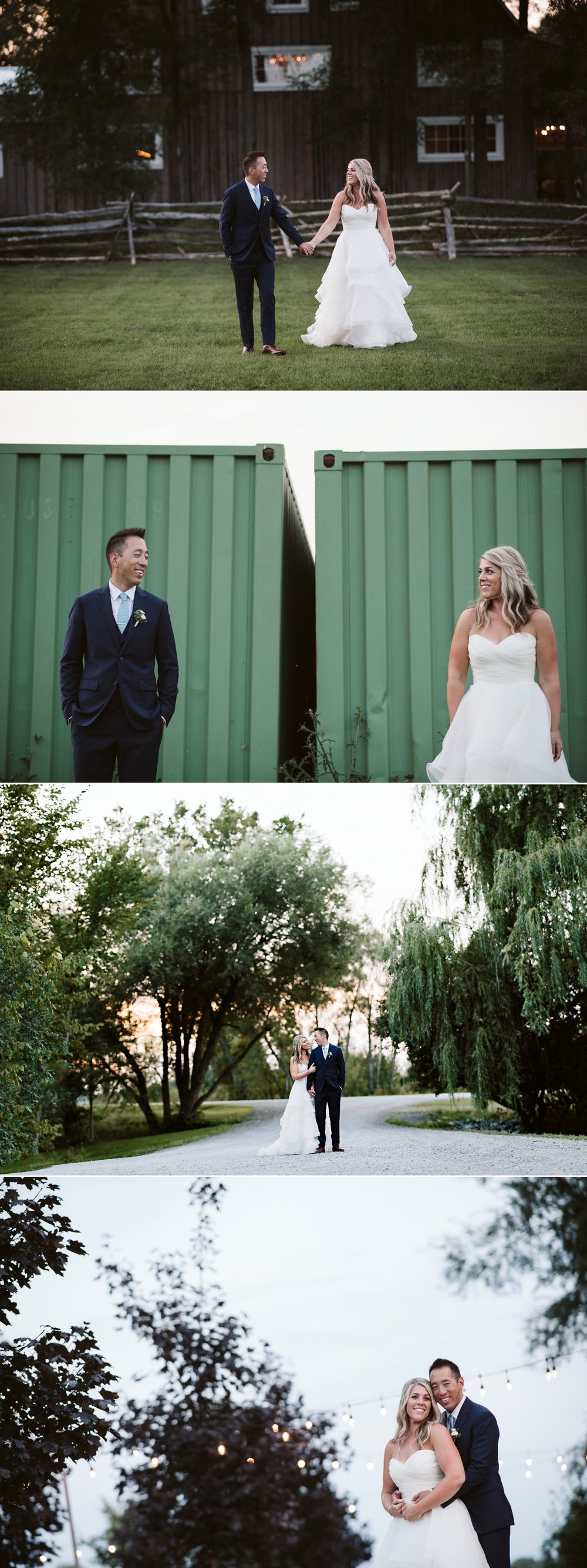 sunset portraits of bride and groom during a wedding at stonefields in carelton place ontario