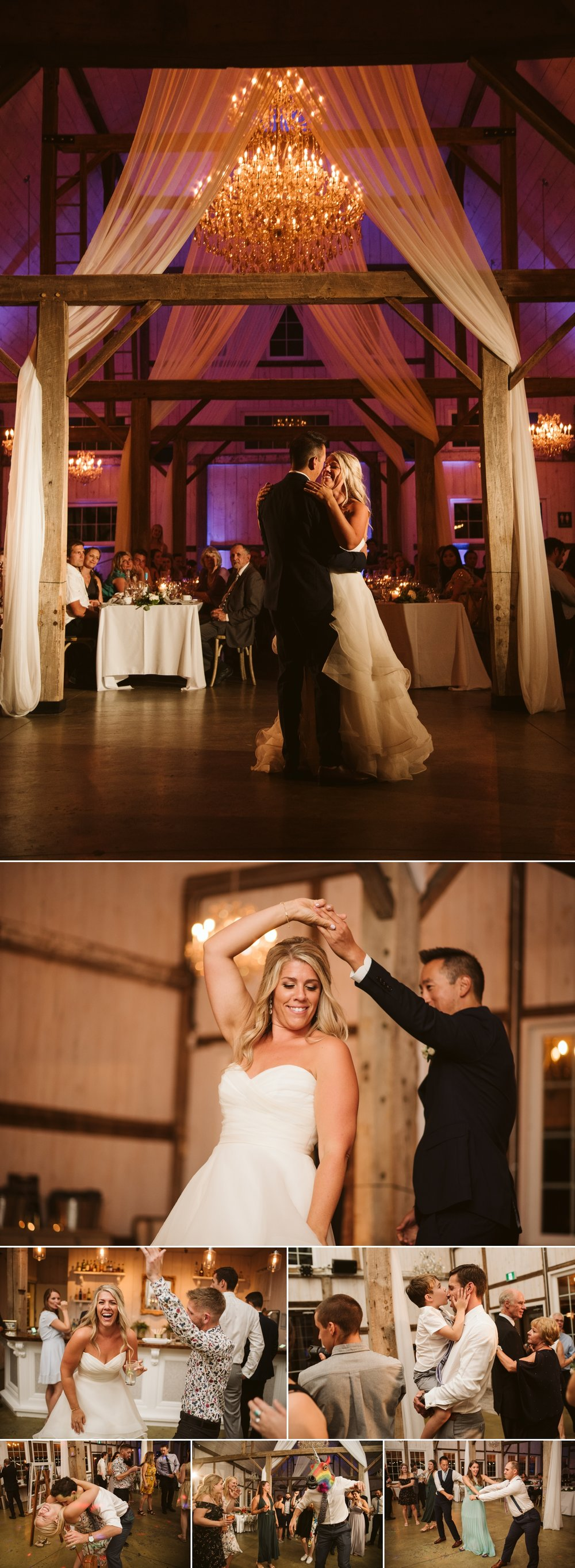 candid dance floor moments during a wedding reception at stonefields in carelton place ontario