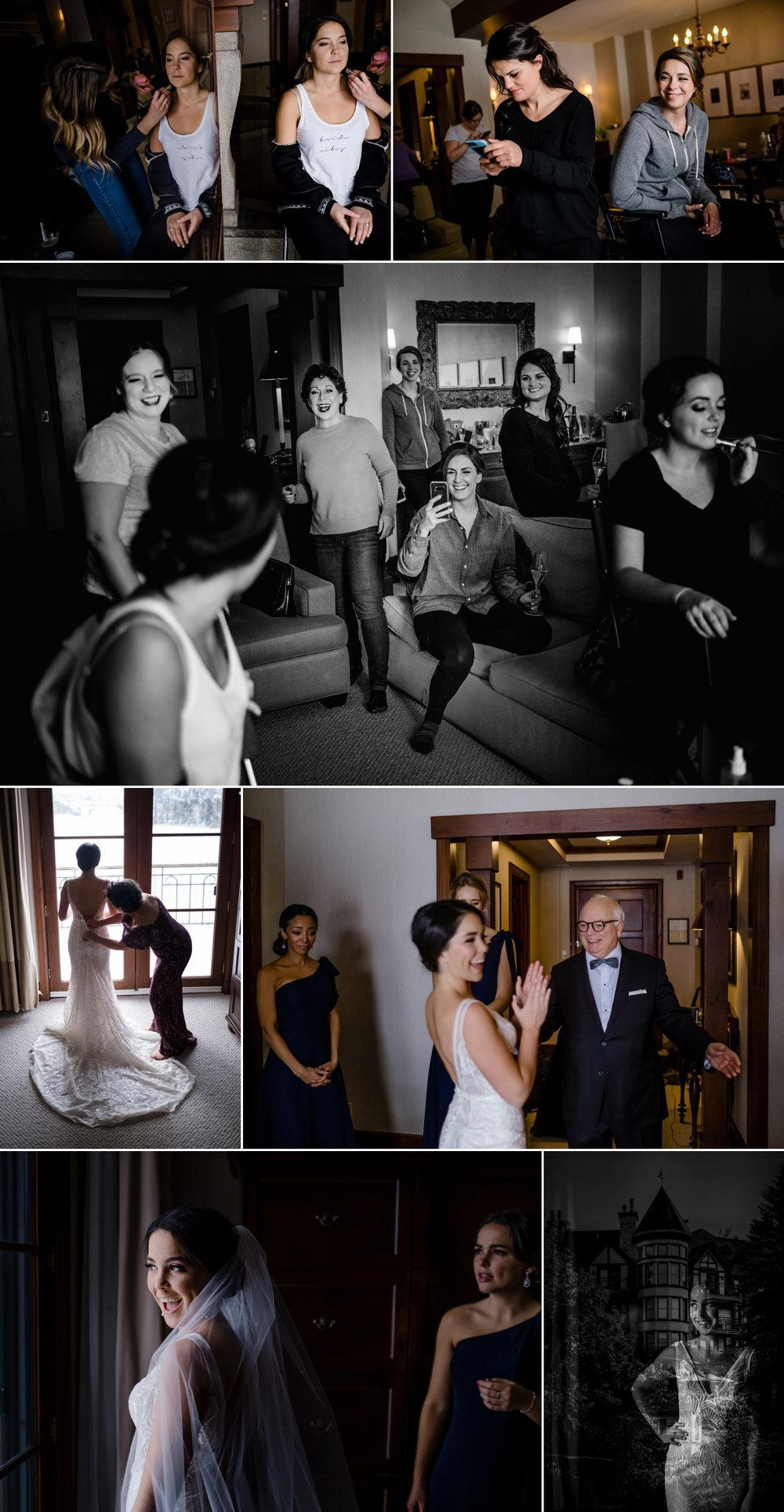 candid moments during a bride getting ready for her wedding at the hotel quintessence in mont tremblant quebec
