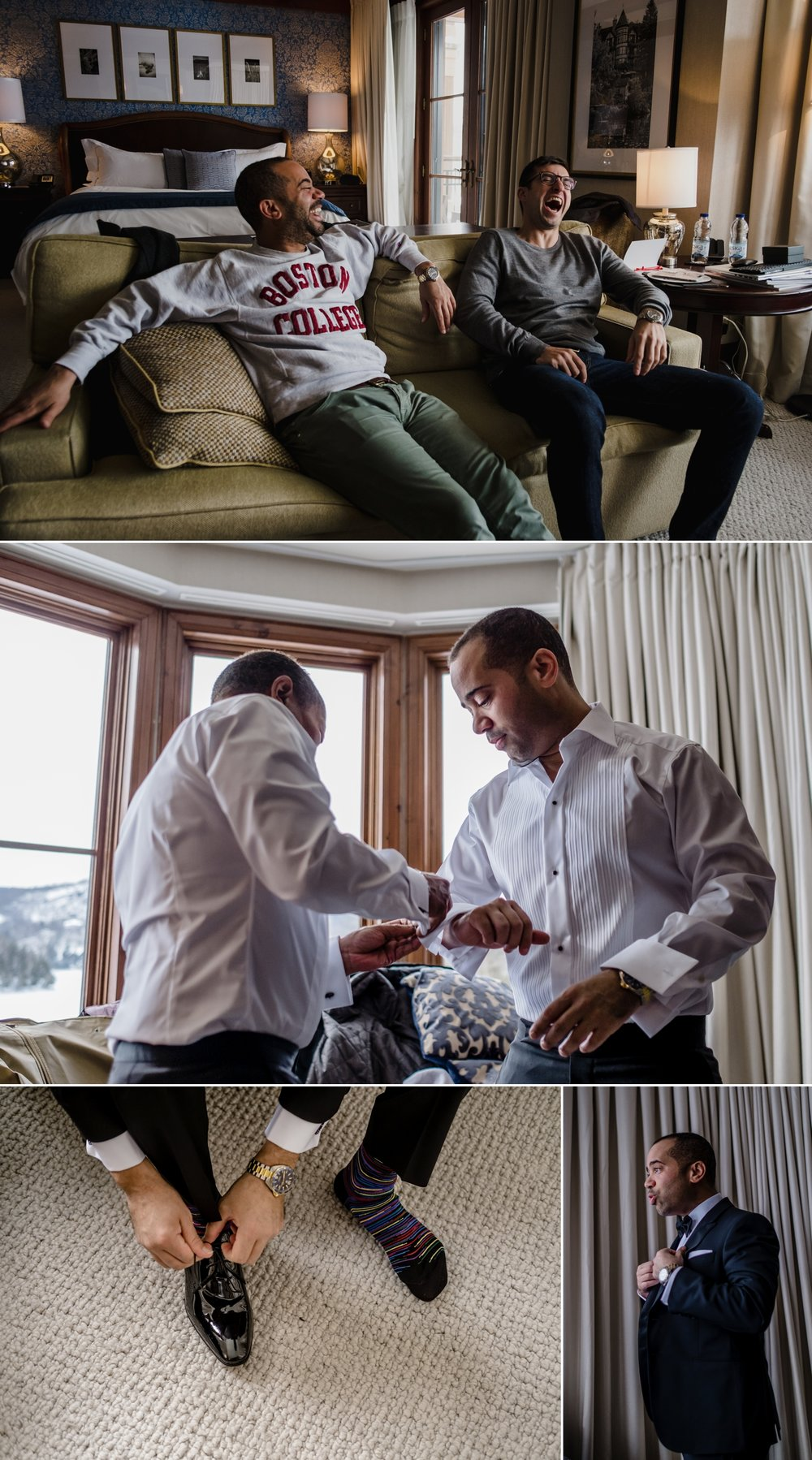 candid moments during a groom getting ready for his wedding at the hotel quintessence in mont tremblant quebec