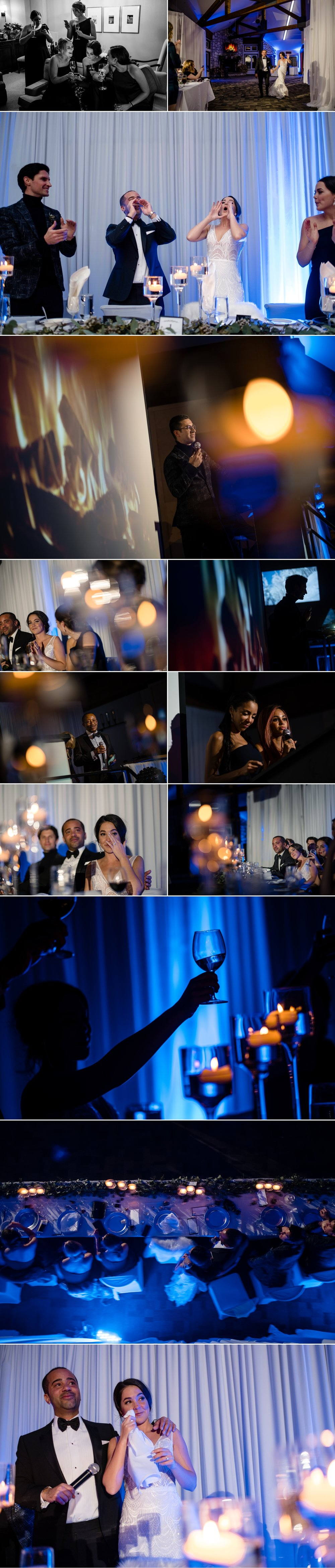 candid moments during a winter wedding reception at the grand manitou in mont tremblant quebec