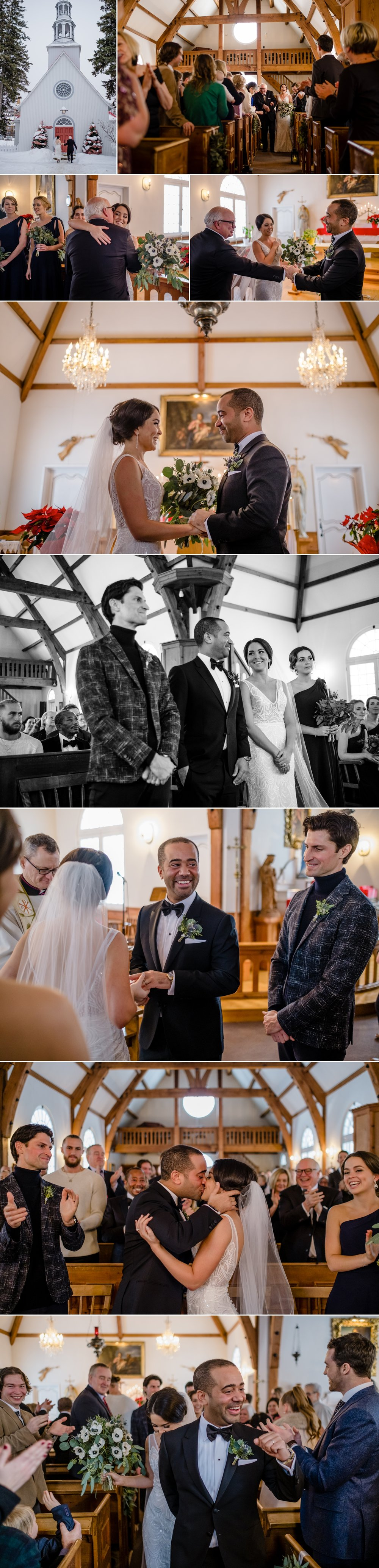 candid moments during a winter wedding ceremony at the chapelle saint bernard in mont tremblant quebec