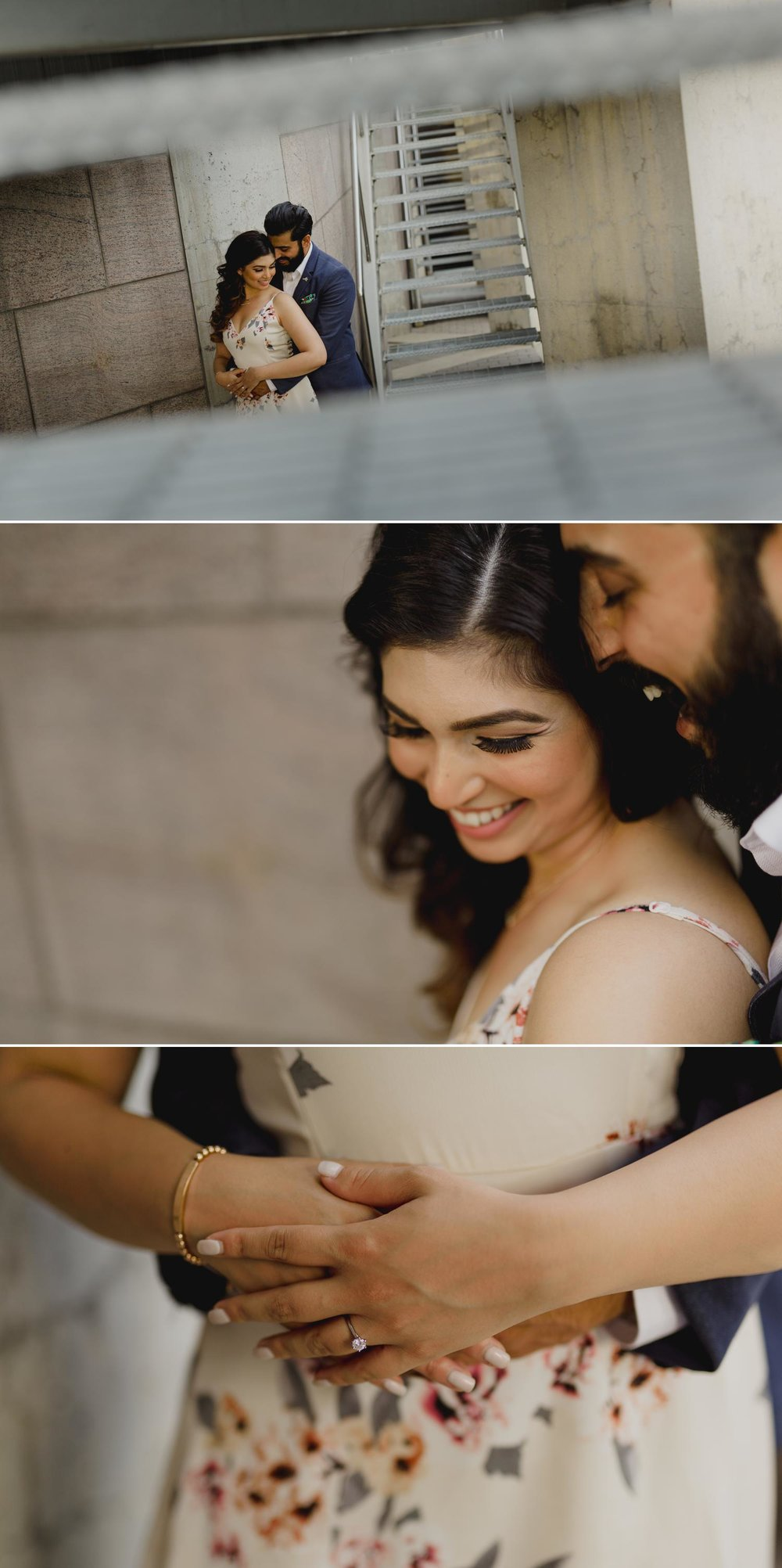 Downtown ottawa engagement photo with an indian couple