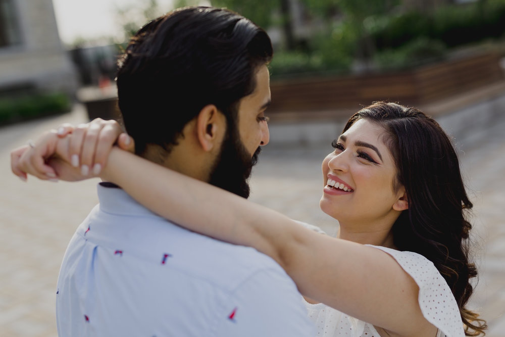 dowtown engagement photo of an indian couple in ottawa