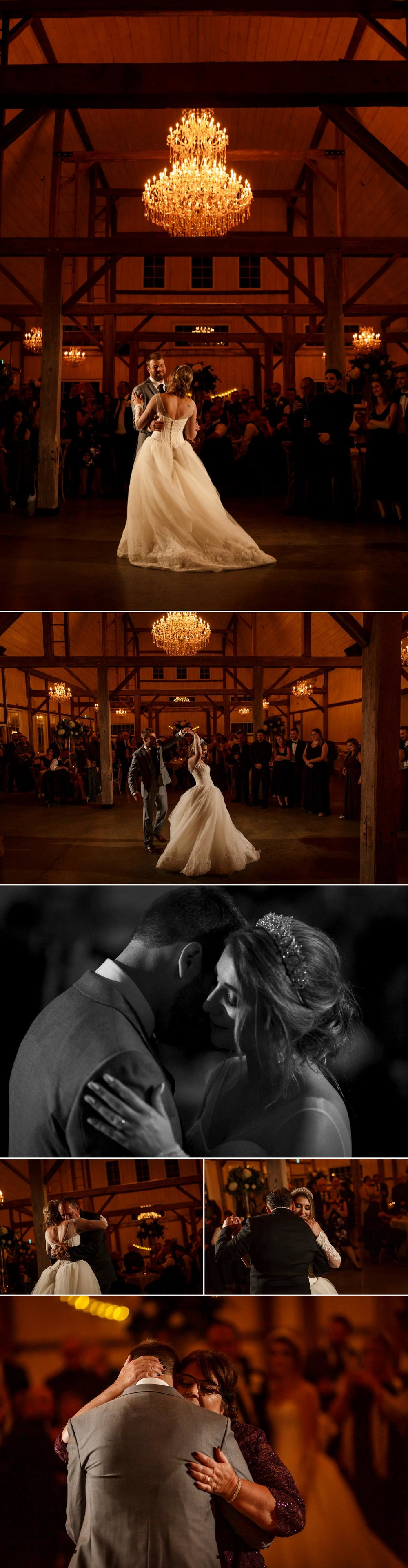 photos of a first dance and father daughter dance