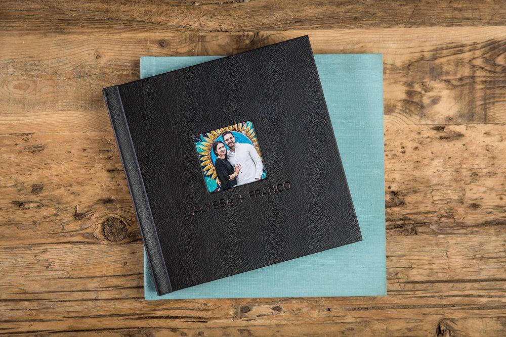 Sample photo of different wedding album covers