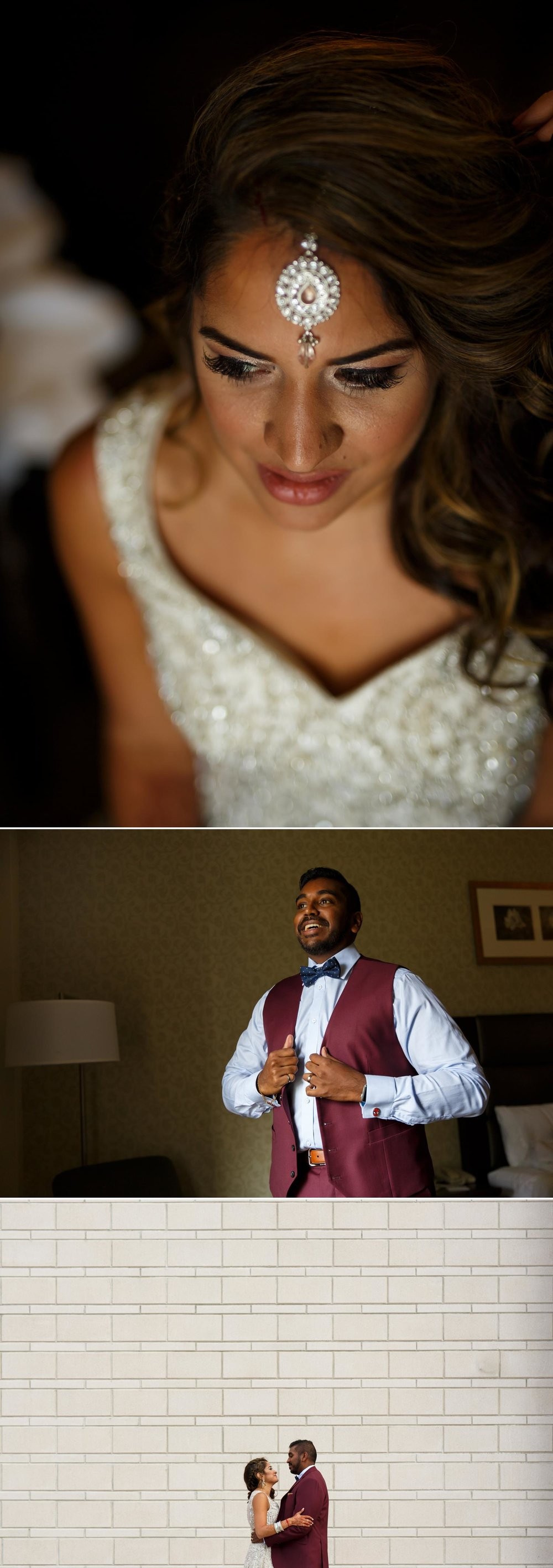 photos of an indian bride and groom getting ready for their wedding reception