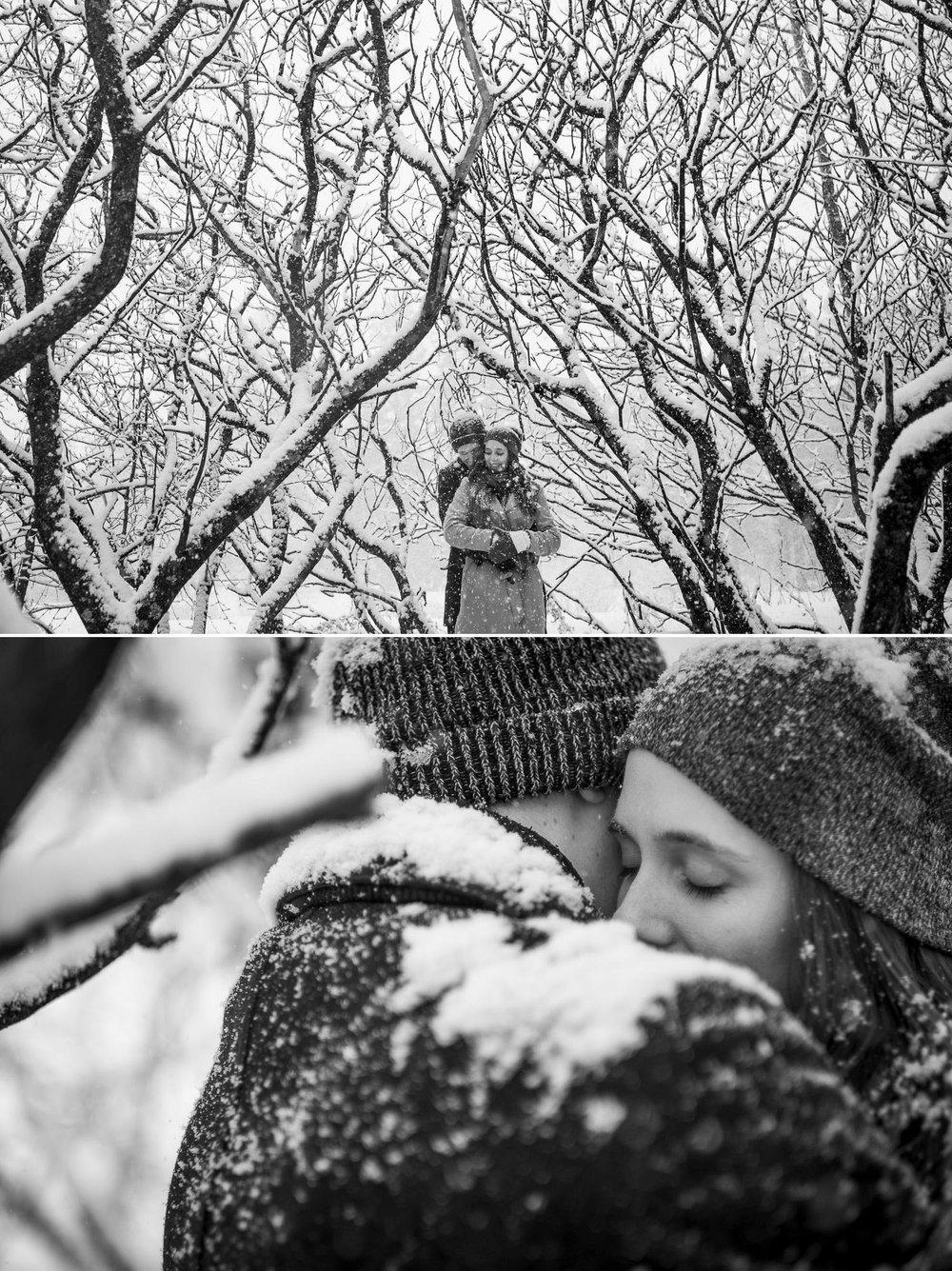 black and white engagement photos in nature