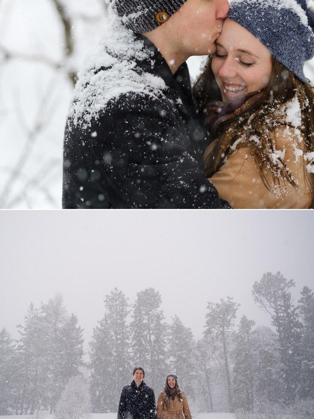 super snowy engagement photos