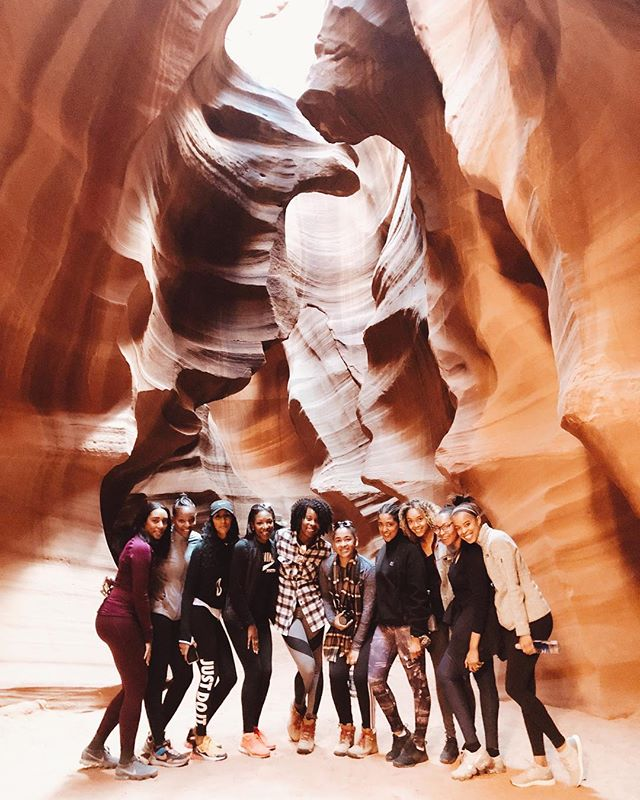 "Day 3: We visited Antelope Canyon and made our way to Horseshoe Bend. The Universe went to work with these two gems ✨ A native from the Navajo Village took us through Antelope Canyon. The canyon's name got lost in translation and was really suppose to be ""Elk"" Canyon.  It sits right on Navajo land. The Horseshoe Bend's is shaped by the Colorado River. #oneyoungtraveler #OYTNationalParkTour #ohwehikehike"