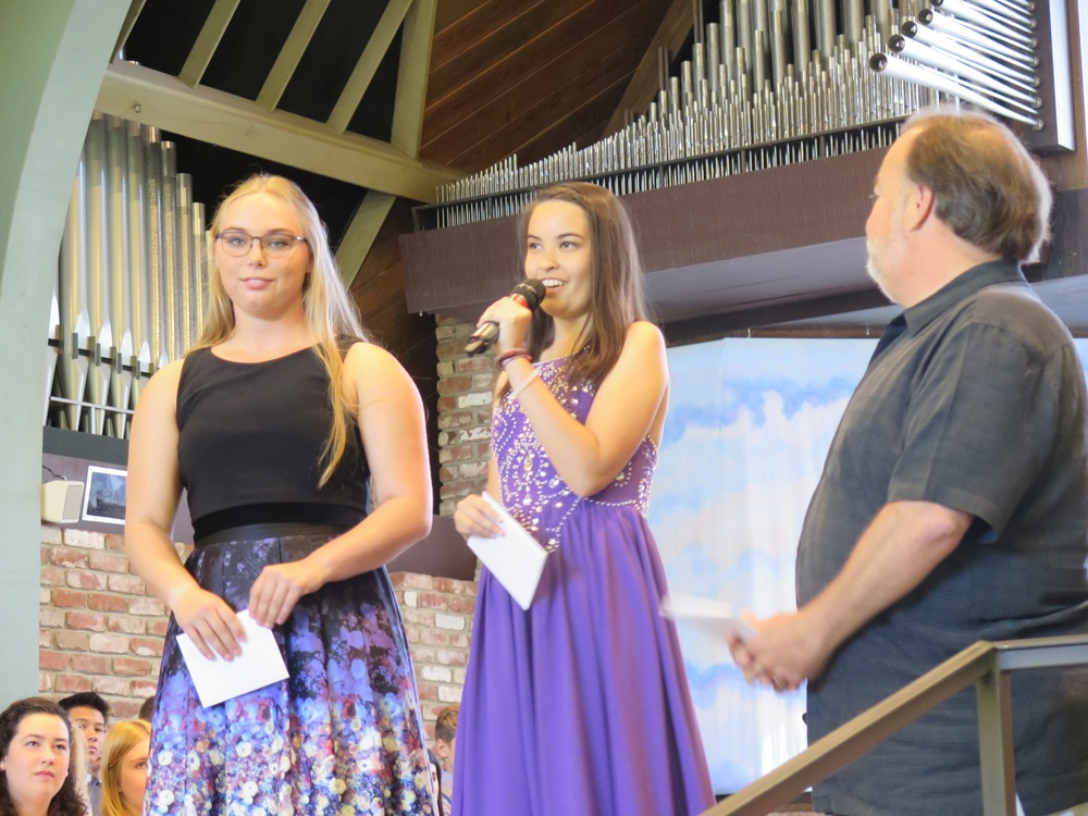 Katrina Hoefflinger (University of Puget Sound)and Natalie Dye (UC Santa Barbara)accept their Roy Damonte Scholarships