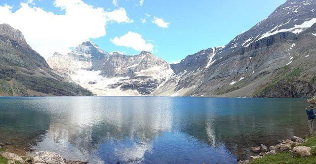 Can you believe the Rockies? No filter. On my phone. Bit of hiking to get there. :) Lake O'hara, BC. Magical.