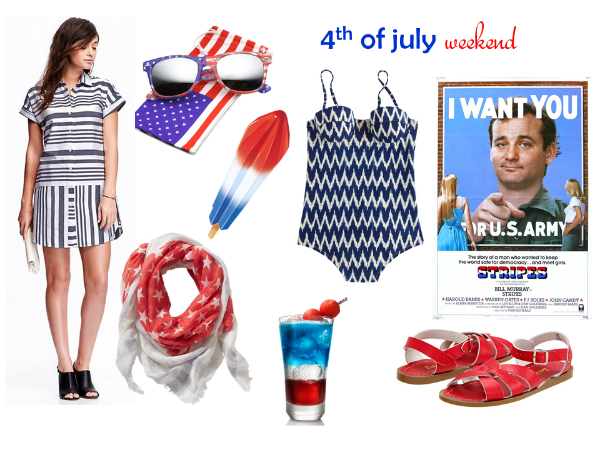 striped oxford shirt dress  /  american flag sunglasses  / firecracker pop /  ikat swimsuit  / a comedy classic /  saltwater sandals  / patriotic  cocktail  /  star-studded scarf