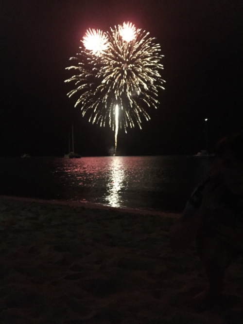 enjoying independence day fireworks on the beach.
