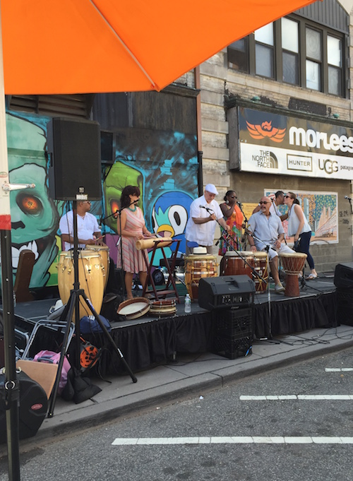 a fun band set up on one block