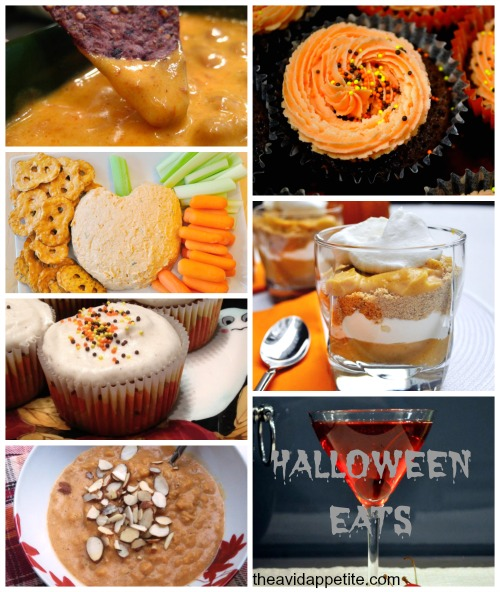 queso  /  chocolate cupcakes  /  cheese ball  /  pumpkin pie trifles  /  pumpkin spice cupcakes  / cherry cocktail /  pumpkin pie oats