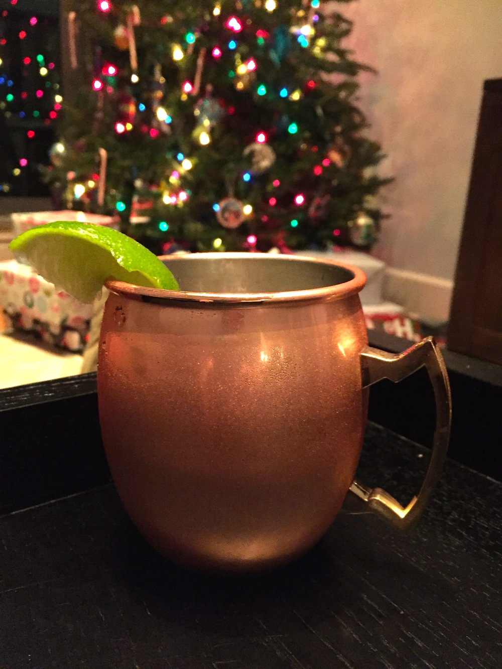 our holiday cocktail of choice: moscow mules in gifted copper cups