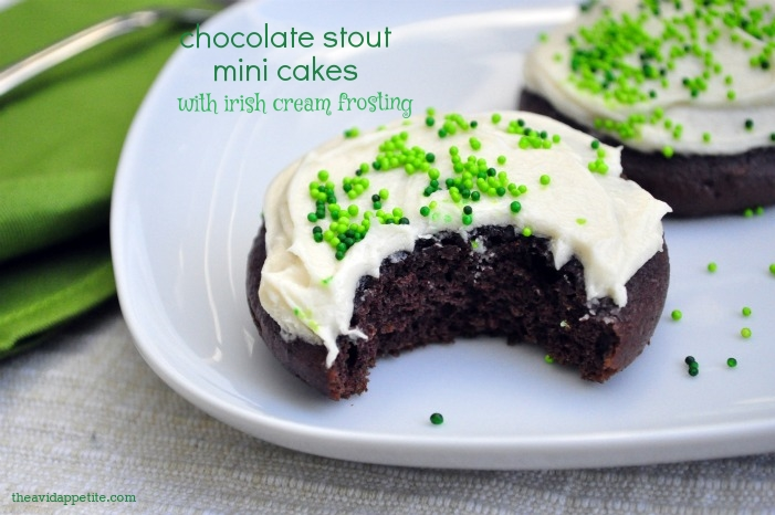 chocolate stout mini cakes with irish cream frosting