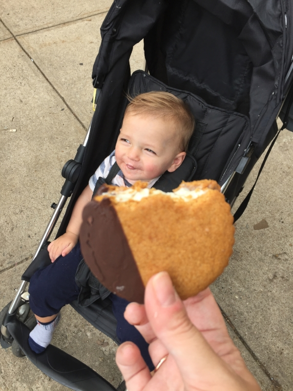 We were so out of steam by the end, but we couldn't miss one of our favorite family spots in JC:  Milk Sugar Love ! P chose a Fruity Pebble macaron ice cream sandwich (it was devoured before I got a pic), and Shaun, H and I shared this S'mores ice cream sandwich, complete with burnt marshmallow ice cream and flaky salt on top.