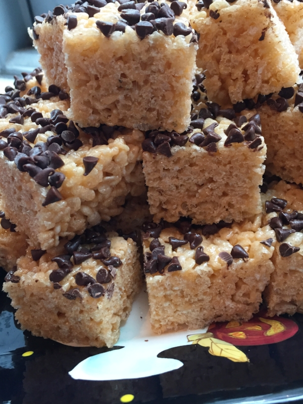halloween rice krispies treats tower