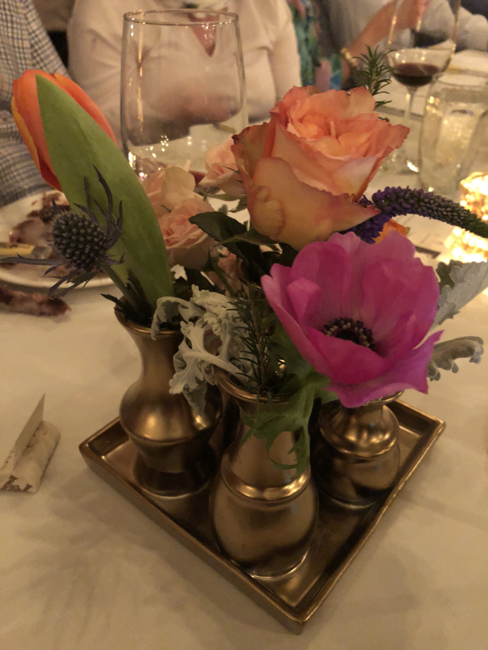 """The Wining Dinos, Iron Chef Wine Dinner - """"Catherine of C.Wayman Floral & Events created this incredible floral display that went beyond all that I could imagine."""""""