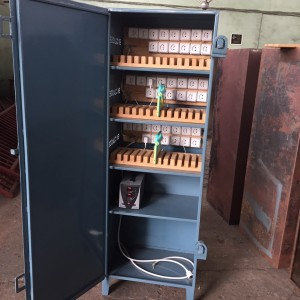 The storage cabinet that En Classe had locally made to house and charge the tablets.