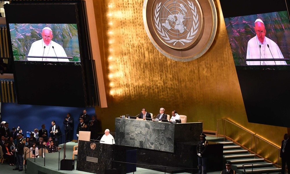 The Pope addressing the UN General Assembly on September 25th (photo courtesy of The Guardian)