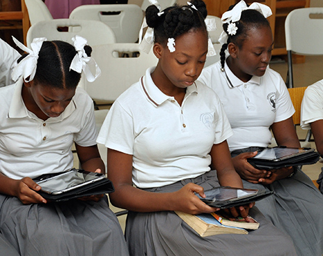 Girls in Haiti will be able to use Library For All's technology to access the specialized digital girls' library collection.