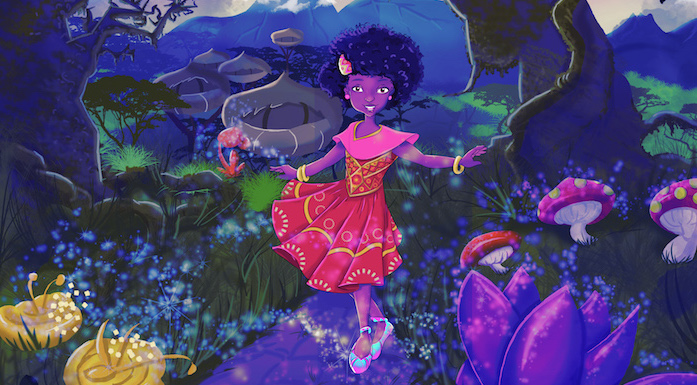 "Cover for ""Ysolde and Her Magical Shoes."" Illustrated by ImagineWe in Kigali, Rwanda"