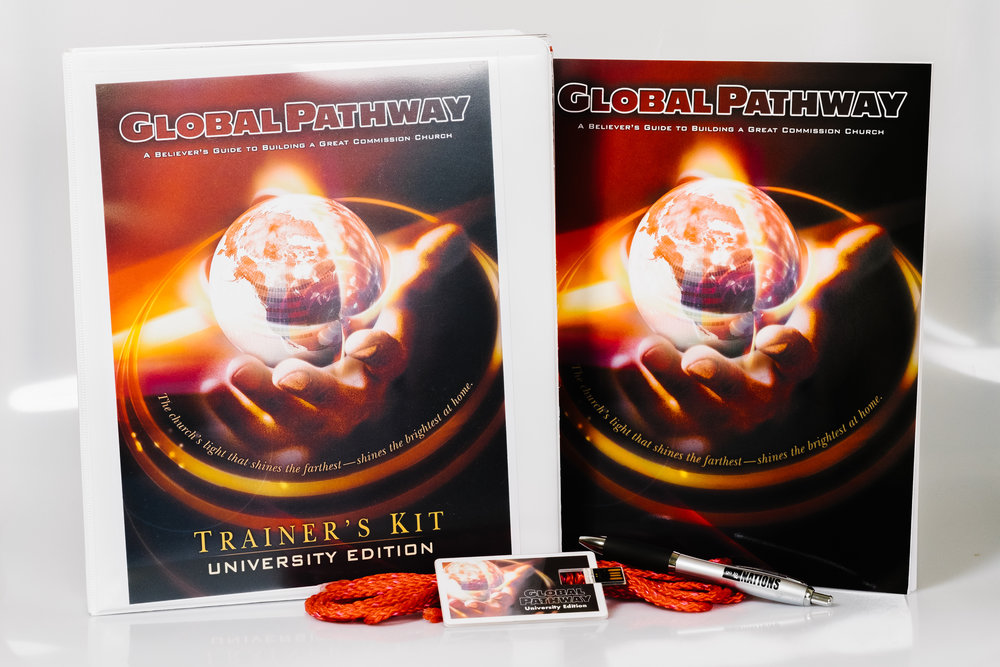 The printed  Global Pathway University Edition Trainer's Kit  is contains props, tools, PowerPoint files, full course videos, Curriculum Guide, and Trainer's Notes--all to empower the leader to instruct the Global Pathway curriculum in a collegiate setting. Purchase also includes (1) copy of the    Global Pathway 2nd Edition (English) Student Manual  which    provides believers with a workbook of tools, including the training content, margins for notes, and a helpful Appendix.   NOTE: It is highly recommended that each course participant purchase their own copy of the Student Manual.