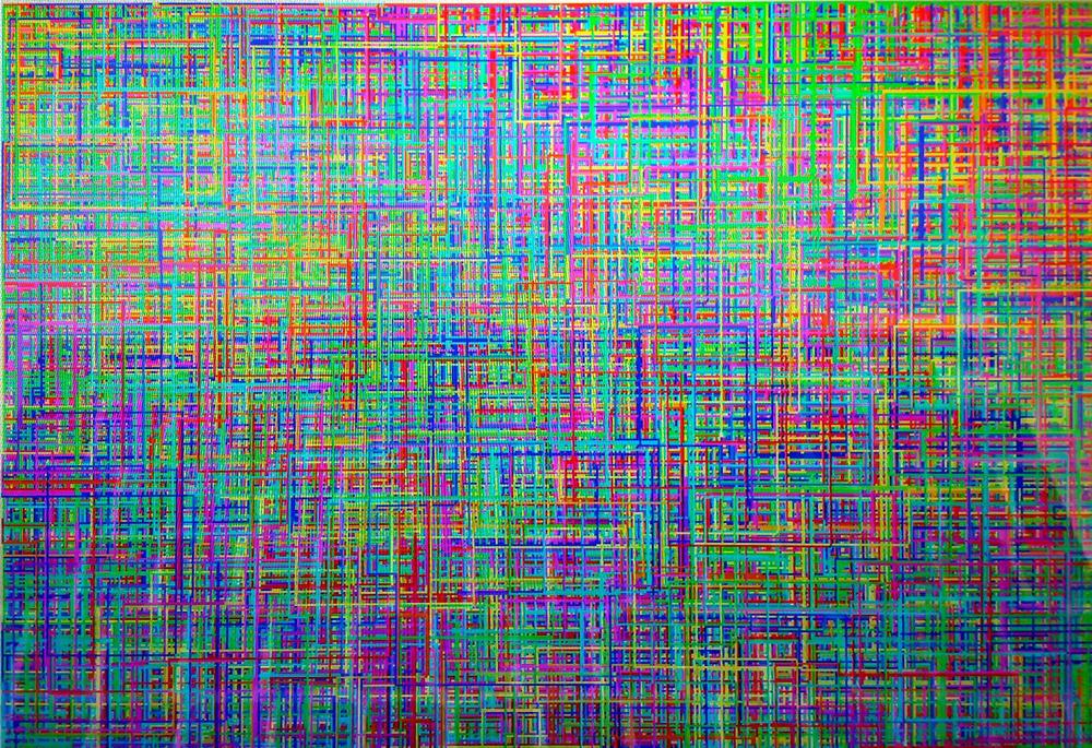 A:n itse suunnitteleman ja koodaaman ohjelman tuottamaa generatiivista taidetta. (still-kuva muuntuvasta originaalista)