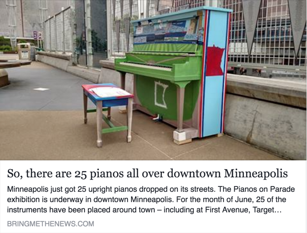 Bring Me The News: It's the first time Pianos On Parade has been held downtown...A crew of 20 local artists were commissioned to decorate each instrument to evoke themes of downtown. (June '16)