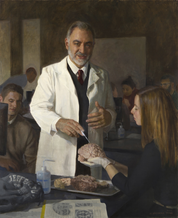 "Dr. Gerald Grunwald  , oil on linen, 44"" x 36""  Collection Thomas Jefferson University, Philadelphia, PA"