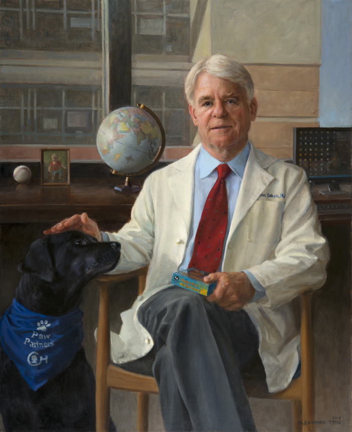 "Alan Cohen, M.D.  , oil on linen, 44"" x 36""  Read More   Collection Children's Hospital of Philadelphia, PA"
