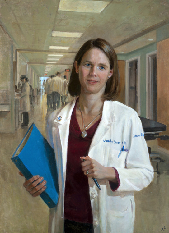 "Gretchen Diemer, M.D.   oil on linen, 36"" x 26""  Collection Thomas Jefferson University Hospital, Philadelphia, PA"